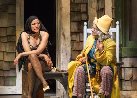"L-R: Rachel York and Betty Buckley in ""Grey Gardens"" The Musical. Directed by Michael Wilson, ""Grey Gardens"" plays at Center Theatre Group/Ahmanson Theatre through August 14, 2016. The book is by Doug Wright, music by Scott Frankel and lyrics by Michael Korie. ""Grey Gardens"" is based on the film by David Maysles, Albert Maysles, Ellen Hovde, Muffie Meyer and Susan Froemke. For tickets and information, please visit CenterTheatreGroup.org or call (213) 972-4400. Contact: CTGMedia@ctgla.org / (213) 972-7376.<br />