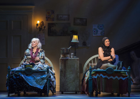 "L-R: Betty Buckley and Rachel York in ""Grey Gardens"" The Musical. Directed by Michael Wilson, ""Grey Gardens"" plays at Center Theatre Group/Ahmanson Theatre through August 14, 2016. The book is by Doug Wright, music by Scott Frankel and lyrics by Michael Korie. ""Grey Gardens"" is based on the film by David Maysles, Albert Maysles, Ellen Hovde, Muffie Meyer and Susan Froemke. For tickets and information, please visit CenterTheatreGroup.org or call (213) 972-4400. Contact: CTGMedia@ctgla.org / (213) 972-7376.<br />