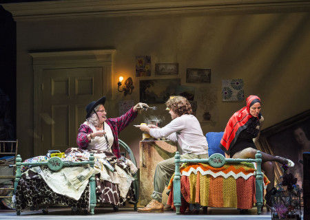 "L-R: Betty Buckley, Josh Young and Rachel York in ""Grey Gardens"" The Musical. Directed by Michael Wilson, ""Grey Gardens"" plays at Center Theatre Group/Ahmanson Theatre through August 14, 2016. The book is by Doug Wright, music by Scott Frankel and lyrics by Michael Korie. ""Grey Gardens"" is based on the film by David Maysles, Albert Maysles, Ellen Hovde, Muffie Meyer and Susan Froemke. For tickets and information, please visit CenterTheatreGroup.org or call (213) 972-4400. Contact: CTGMedia@ctgla.org / (213) 972-7376.<br />