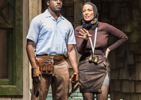"Davon Williams and Rachel York in ""Grey Gardens"" The Musical. Directed by Michael Wilson, ""Grey Gardens"" plays at Center Theatre Group/Ahmanson Theatre through August 14, 2016. The book is by Doug Wright, music by Scott Frankel and lyrics by Michael Korie. ""Grey Gardens"" is based on the film by David Maysles, Albert Maysles, Ellen Hovde, Muffie Meyer and Susan Froemke. For tickets and information, please visit CenterTheatreGroup.org or call (213) 972-4400. Contact: CTGMedia@ctgla.org / (213) 972-7376.<br />
