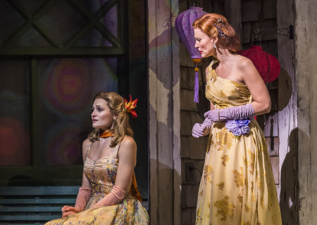 "L-R: Sarah Hunt and Rachel York in ""Grey Gardens"" The Musical. Directed by Michael Wilson, ""Grey Gardens"" plays at Center Theatre Group/Ahmanson Theatre through August 14, 2016. The book is by Doug Wright, music by Scott Frankel and lyrics by Michael Korie. ""Grey Gardens"" is based on the film by David Maysles, Albert Maysles, Ellen Hovde, Muffie Meyer and Susan Froemke. For tickets and information, please visit CenterTheatreGroup.org or call (213) 972-4400. Contact: CTGMedia@ctgla.org / (213) 972-7376.<br />
