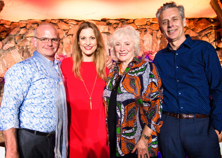 "(L-R) Michael Wilson, Rachel York, Betty Buckley, and Michael Ritchie at the ""Grey Gardens"" Artist Dinner."