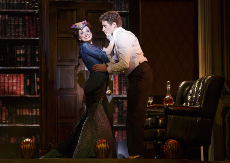 "National Touring Company. Adrienne Eller as Phoebe D'Ysquith and Kevin Massey as Monty Navarro in a scene from ""A Gentleman's Guide to Love &amp; Murder."" Directed by Darko Tresnjak, ""A Gentleman's Guide to Love &amp; Murder"" is part of the Center Theatre Group/Ahmanson Theatre's 2015-2016 season and will be presented March 22 through May 1, 2016. For tickets and information, please visit CenterTheatreGroup.org or call (213) 972-4400.<br />