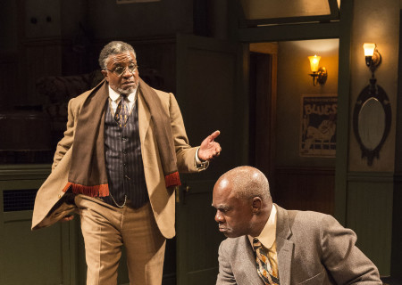 "L-R: Keith David and Glynn Turman in August Wilson's ""Ma Rainey's Black Bottom,"" directed by Phylicia Rashad, playing through October 16, 2016, at Center Theatre Group/Mark Taper Forum at the Los Angeles Music Center. For tickets and information, please visit CenterTheatreGroup.org or call (213) 628-2772. Contact: CTGMedia@ctgla.org/ (213) 972-7376. Photo by Craig Schwartz."