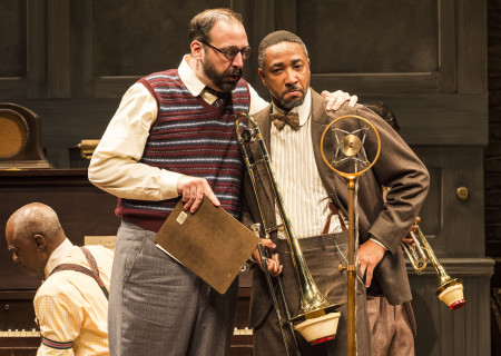 "L-R: Glynn Turman (background), Ed Swidey and Damon Gupton in August Wilson's ""Ma Rainey's Black Bottom,"" directed by Phylicia Rashad, playing through October 16, 2016, at Center Theatre Group/Mark Taper Forum at the Los Angeles Music Center. For tickets and information, please visit CenterTheatreGroup.org or call (213) 628-2772. Contact: CTGMedia@ctgla.org/ (213) 972-7376. Photo by Craig Schwartz."