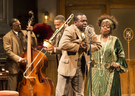 "L-R: Keith David and Damon Gupton (background), Lamar Richardson and Lillias White in August Wilson's ""Ma Rainey's Black Bottom,"" directed by Phylicia Rashad, playing through October 16, 2016, at Center Theatre Group/Mark Taper Forum at the Los Angeles Music Center. For tickets and information, please visit CenterTheatreGroup.org or call (213) 628-2772. Contact: CTGMedia@ctgla.org/ (213) 972-7376. Photo by Craig Schwartz."