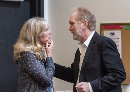 "Cast members Linda Gehringer and Harry Groener on the first day of rehearsal for the world premiere of ""Vicuña"" by Jon Robin Baitz at Center Theatre Group's Kirk Douglas Theatre. Directed by Robert Egan, ""Vicuña"" runs October 23 through November 20, 2016. For tickets and information, please visit CenterTheatreGroup.org or call (213) 628-2772. Contact: CTGMedia@ctgla.org / (213) 972-7376. Photo by Craig Schwartz."