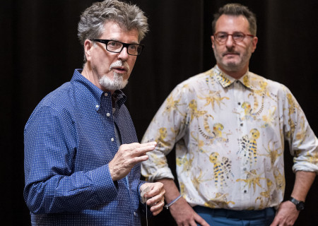 "L-R: Director Robert Egan and playwright Jon Robin Baitz on the first day of rehearsal for the world premiere of ""Vicuña"" at Center Theatre Group's Kirk Douglas Theatre. ""Vicuña"" runs October 23 through November 20, 2016. For tickets and information, please visit CenterTheatreGroup.org or call (213) 628-2772. Contact: CTGMedia@ctgla.org / (213) 972-7376. Photo by Craig Schwartz."