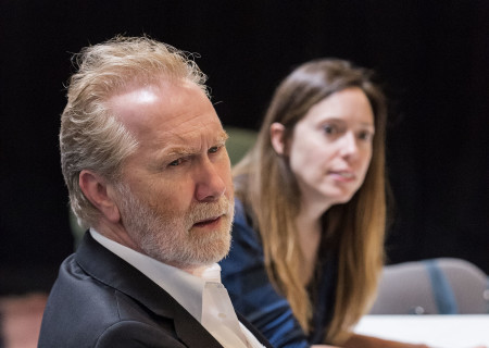 "Cast member Harry Groener and Associate Producer Lindsay Allbaugh on the first day of rehearsal for the world premiere of ""Vicuña"" by Jon Robin Baitz at Center Theatre Group's Kirk Douglas Theatre. Directed by Robert Egan, ""Vicuña"" runs October 23 through November 20, 2016. For tickets and information, please visit CenterTheatreGroup.org or call (213) 628-2772. Contact: CTGMedia@ctgla.org / (213) 972-7376. Photo by Craig Schwartz."
