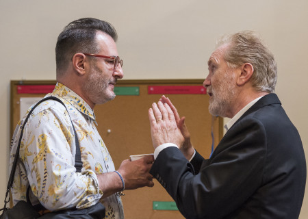 "L-R: Playwright Jon Robin Baitz and cast member Harry Groener on the first day of rehearsal for the world premiere of ""Vicuña"" at Center Theatre Group's Kirk Douglas Theatre. Directed by Robert Egan, ""Vicuña"" runs October 23 through November 20, 2016. For tickets and information, please visit CenterTheatreGroup.org or call (213) 628-2772. Contact: CTGMedia@ctgla.org / (213) 972-7376. Photo by Craig Schwartz."