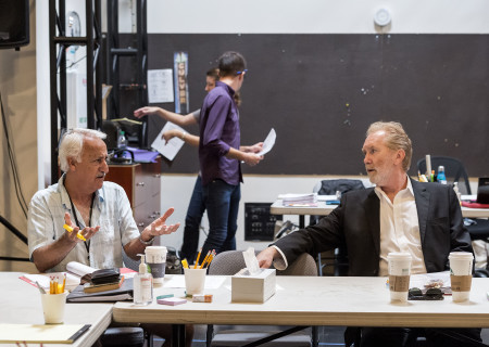 "L-R: Cast members Brian George and Harry Groener with CTG staff members on the first day of rehearsal for the world premiere of ""Vicuña"" by Jon Robin Baitz at Center Theatre Group's Kirk Douglas Theatre. Directed by Robert Egan, ""Vicuña"" runs October 23 through November 20, 2016. For tickets and information, please visit CenterTheatreGroup.org or call (213) 628-2772. Contact: CTGMedia@ctgla.org / (213) 972-7376. Photo by Craig Schwartz."
