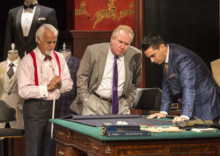 "L-R: Brian George, Harry Groener and Ramiz Monsef in the world premiere of ""Vicuña"" at Center Theatre Group's Kirk Douglas Theatre. Written by Jon Robin Baitz and directed by Robert Egan, ""Vicuña"" runs through November 20, 2016. For tickets and information, please visit CenterTheatreGroup.org or call (213) 628-2772. Contact: CTGMedia@ctgla.org / (213) 972-7376. Photo by Craig Schwartz."
