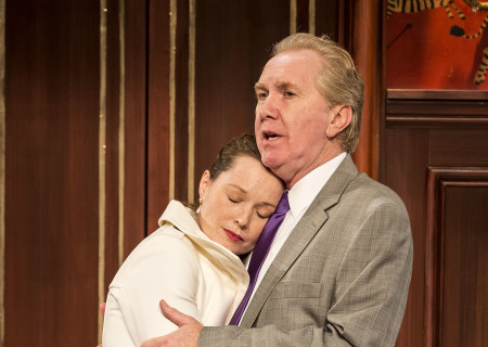 "Samantha Sloyan and Harry Groener in the world premiere of ""Vicuña"" at Center Theatre Group's Kirk Douglas Theatre. Written by Jon Robin Baitz and directed by Robert Egan, ""Vicuña"" runs through November 20, 2016. For tickets and information, please visit CenterTheatreGroup.org or call (213) 628-2772. Contact: CTGMedia@ctgla.org / (213) 972-7376. Photo by Craig Schwartz."