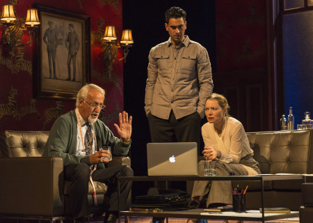 "L-R: Brian George, Ramiz Monsef and Samantha Sloyan in the world premiere of ""Vicuña"" at Center Theatre Group's Kirk Douglas Theatre. Written by Jon Robin Baitz and directed by Robert Egan, ""Vicuña"" runs through November 20, 2016. For tickets and information, please visit CenterTheatreGroup.org or call (213) 628-2772. Contact: CTGMedia@ctgla.org / (213) 972-7376. Photo by Craig Schwartz."
