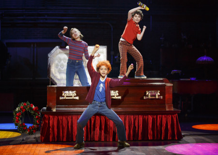 "L-R: Alessandra Baldacchino as 'Small Alison', Pierson Salvador as 'Christian' and Lennon Nate Hammond as 'John' in the national tour of ""Fun Home."" ""Fun Home"" is part of the Center Theatre Group/Ahmanson Theatre's 2016-2017 season and will be presented February 21 through April 1, 2017. For tickets and information, please visit CenterTheatreGroup.org or call (213) 972-4400. Contact: CTGMedia@CenterTheatreGroup.org / (213) 972-7376. Photo by Joan Marcus."