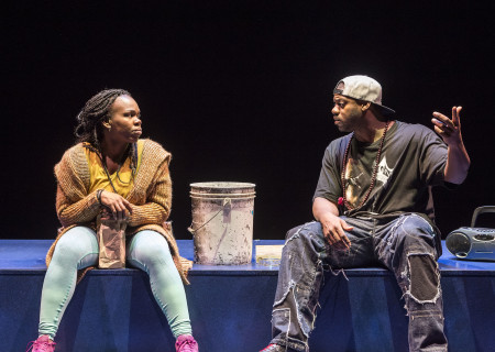 "L-R: Ngozi Anyanwu and Marcus Henderson in the world premiere of ""Good Grief."" Written by Anyanwu and directed by Patricia McGregor, ""Good Grief"" plays at Center Theatre Group's Kirk Douglas Theatre through March 26, 2017. For tickets and information, please visit CenterTheatreGroup.org or call (213) 972-4400. Media Contact: CTGMedia@ctgla.org / (213) 972-7376. Photo by Craig Schwartz."