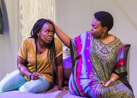 "L-R: Ngozi Anyanwu and Omozé Idehenre in the world premiere of ""Good Grief."" Written by Anyanwu and directed by Patricia McGregor, ""Good Grief"" plays at Center Theatre Group's Kirk Douglas Theatre through March 26, 2017. For tickets and information, please visit CenterTheatreGroup.org or call (213) 972-4400. Media Contact: CTGMedia@ctgla.org / (213) 972-7376. Photo by Craig Schwartz."