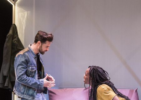 "L-R: Mark Jude Sullivan and Ngozi Anyanwu in the world premiere of ""Good Grief."" Written by Anyanwu and directed by Patricia McGregor, ""Good Grief"" plays at Center Theatre Group's Kirk Douglas Theatre through March 26, 2017. For tickets and information, please visit CenterTheatreGroup.org or call (213) 972-4400. Media Contact: CTGMedia@ctgla.org / (213) 972-7376. Photo by Craig Schwartz."