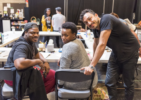 "L-R: Cast members Marcus Henderson, Omoz Idehenre and Wade Allain-Marcus at the first rehearsal for ""Good Grief."" Directed by Patricia McGregor and written by Ngozi Anyanwu, the world premiere of ""Good Grief"" plays February 26 through March 26, 2017, at Center Theatre Group's Kirk Douglas Theatre. For tickets and information, please visit CenterTheatreGroup.org or call (213) 628-2772. Media Contact: (213) 972-7376/CTGMedia@ctgla.org. Photo by Craig Schwartz."