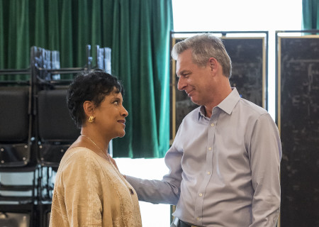 "Cast member Phylicia Rashad and Center Theatre Group Artistic Director Michael Ritchie on the first day of rehearsal for ""Head of Passes"" by Tarell Alvin McCraney, directed by Tina Landau. ""Head of Passes"" plays September 13 through October 22, 2017, as part of Center Theatre Group's 50th anniversary season at the Mark Taper Forum. The opening is September 24. For tickets and information, please visit CenterTheatreGroup.org or call (213) 628-2772. Media Contact: CTGMedia@ctgla.org / (213) 972-7376. Photo by Craig Schwartz."
