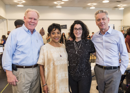 "L-R: Center Theatre Group Managing Director Stephen D. Rountree, cast member Phylicia Rashad, director Tina Landau and Center Theatre Group Artistic Director Michael Ritchie on the first day of rehearsal for ""Head of Passes"" by Tarell Alvin McCraney.Cast member ""Head of Passes"" plays September 13 through October 22, 2017, as part of Center Theatre Group's 50th anniversary season at the Mark Taper Forum. The opening is September 24. For tickets and information, please visit CenterTheatreGroup.org or call (213) 628-2772. Media Contact: CTGMedia@ctgla.org / (213) 972-7376. Photo by Craig Schwartz."