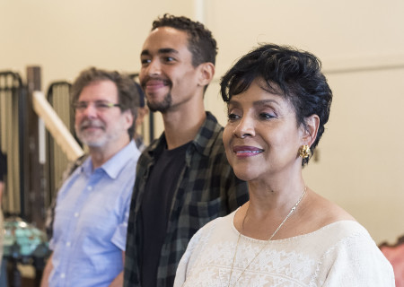 "L-R: Set designer G.W. Mercier and cast members Kyle Beltran and Phylicia Rashad on the first day of rehearsal for ""Head of Passes"" by Tarell Alvin McCraney, directed by Tina Landau. ""Head of Passes"" plays September 13 through October 22, 2017, as part of Center Theatre Group's 50th anniversary season at the Mark Taper Forum. The opening is September 24. For tickets and information, please visit CenterTheatreGroup.org or call (213) 628-2772. Media Contact: CTGMedia@ctgla.org / (213) 972-7376. Photo by Craig Schwartz."