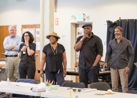 "L-R: Center Theatre Group Managing Director Stephen D. Rountree, director Tina Landau, cast members Jacqueline Williams, J. Bernard Calloway and John Earl Jelks on the first day of rehearsal for ""Head of Passes"" by Tarell Alvin McCraney. ""Head of Passes"" plays September 13 through October 22, 2017, as part of CTG's 50th anniversary season at the Mark Taper Forum. The opening is September 24. For tickets and information, please visit CenterTheatreGroup.org or call (213) 628-2772. Media Contact: CTGMedia@ctgla.org / (213) 972-7376. Photo by Craig Schwartz."