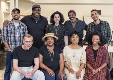 "L-R: top, cast members Francois Battiste, J. Bernard Calloway, director Tina Landau, cast members John Earl Jelks, Kyle Beltran; bottom, cast members James Carpenter, Jacqueline Williams, Phylicia Rashad and Alana Arenas of ""Head of Passes"" by Tarell Alvin McCraney, ""Head of Passes"" plays September 13 through October 22, 2017, as part of Center Theatre Group's 50th anniversary season at the Mark Taper Forum. The opening is September 24. For tickets and information, please visit CenterTheatreGroup.org or call (213) 628-2772. Media Contact: CTGMedia@ctgla.org / (213) 972-7376. Photo by Craig Schwartz."
