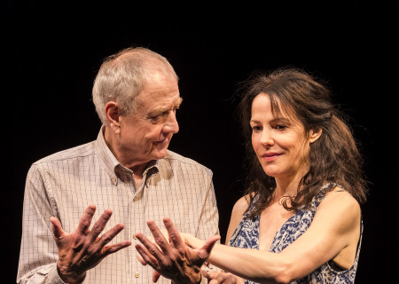 "Denis Arndt and Mary-Louise Parker in ""Heisenberg."" Written by Simon Stephens and directed by Mark Brokaw, ""Heisenberg"" plays through August 6, 2017, as part of Center Theatre Group's 50th anniversary season at the Mark Taper Forum. For tickets and information, please visit CenterTheatreGroup.org or call (213) 628-2772. Media Contact: CTGMedia@ctgla.org / (213) 972-7376. Photo by Craig Schwartz."