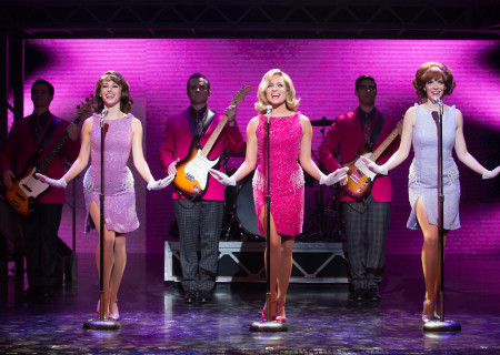 "L-R (foreground): Kristen Paulicelli, Leslie Rochette and Jesse Wildman; L-R (background): Andrew Russell, Corey Greenan and Dru Serkes in the national tour of ""Jersey Boys,"" which plays May 16 through June 24, 2017, at Center Theatre Group/Ahmanson Theatre. For tickets and information, please visit CenterTheatreGroup.org or call (213) 972-4400. Media Contact: CTGMedia@CTGLA.org / (213) 972-7376. Photo by Jeremy Daniel."