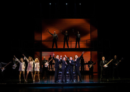 "The cast of the national tour of ""Jersey Boys"" which plays May 16 through June 24, 2017, at Center Theatre Group/Ahmanson Theatre. For tickets and information, please visit CenterTheatreGroup.org or call (213) 972-4400. Media Contact: CTGMedia@CTGLA.org / (213) 972-7376. Photo by Jim Carmody."