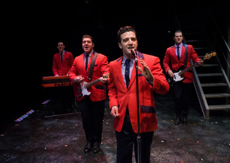 "L-R: Cory Jeacoma, Matthew Dailey, Mark Ballas and Keith Hines in the national tour of ""Jersey Boys,"" which plays May 16 through June 24, 2017, at Center Theatre Group/Ahmanson Theatre. For tickets and information, please visit CenterTheatreGroup.org or call (213) 972-4400. Media Contact: CTGMedia@CTGLA.org / (213) 972-7376. Photo by Jim Carmody."