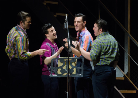 "L-R: Keith Hines, Mark Ballas, Cory Jeacoma and Matthew Dailey in the national tour of ""Jersey Boys,"" which plays May 16 through June 24, 2017, at Center Theatre Group/Ahmanson Theatre. For tickets and information, please visit CenterTheatreGroup.org or call (213) 972-4400. Media Contact: CTGMedia@CTGLA.org / (213) 972-7376. Photo by Jim Carmody."