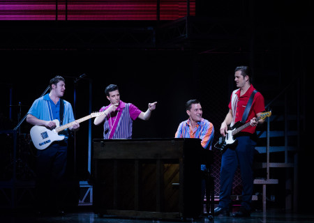 "L-R: Matthew Dailey, Mark Ballas, Cory Jeacoma and Keith Hines in the national tour of ""Jersey Boys,"" which plays May 16 through June 24, 2017, at Center Theatre Group/Ahmanson Theatre. For tickets and information, please visit CenterTheatreGroup.org or call (213) 972-4400. Media Contact: CTGMedia@CTGLA.org / (213) 972-7376. Photo by Jim Carmody."