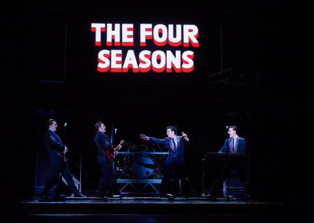 "L-R: Keith Hines, Matthew Dailey, Mark Ballas and Cory Jeacoma in the national tour of ""Jersey Boys,"" which plays May 16 through June 24, 2017, at Center Theatre Group/Ahmanson Theatre. For tickets and information, please visit CenterTheatreGroup.org or call (213) 972-4400. Media Contact: CTGMedia@CTGLA.org / (213) 972-7376. Photo by Jim Carmody."