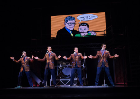 "L-R: Mark Ballas, Cory Jeacoma, Matthew Dailey and Keith Hines in the national tour of ""Jersey Boys,"" which plays May 16 through June 24, 2017, at Center Theatre Group/Ahmanson Theatre. For tickets and information, please visit CenterTheatreGroup.org or call (213) 972-4400. Media Contact: CTGMedia@CTGLA.org / (213) 972-7376. Photo by Jim Carmody."