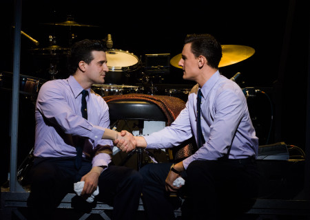 "L-R: Mark Ballas and Cory Jeacoma in the national tour of ""Jersey Boys,"" which plays May 16 through June 24, 2017, at Center Theatre Group/Ahmanson Theatre. For tickets and information, please visit CenterTheatreGroup.org or call (213) 972-4400. Media Contact: CTGMedia@CTGLA.org / (213) 972-7376. Photo by Jim Carmody."