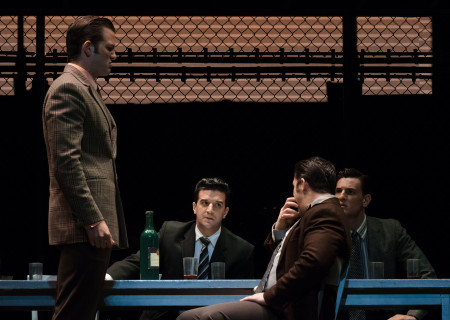 "L-R: Keith Hines, Mark Ballas, Matthew Dailey and Cory Jeacoma in the national tour of ""Jersey Boys,"" which plays May 16 through June 24, 2017, at Center Theatre Group/Ahmanson Theatre. For tickets and information, please visit CenterTheatreGroup.org or call (213) 972-4400. Media Contact: CTGMedia@CTGLA.org / (213) 972-7376. Photo by Jim Carmody."