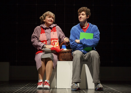 "Amelia White as Mrs. Alexander and Adam Langdon as Christopher Boone in the touring production of ""The Curious Incident of the Dog in the Night-Time,"" which will be presented by Center Theatre Group at the Ahmanson Theatre August 2 through September 10, 2017. For tickets and information, please visit CenterTheatreGroup.org or call (213) 972-4400. Media Contact: CTGMedia@CTGLA.org / (213) 972-7376. Photo by Joan Marcus."