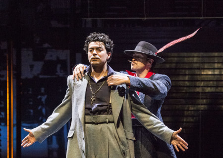 "L-R: Matias Ponce and Demian Bichir in the revival of ""Zoot Suit."" Written and directed by Luis Valdez and presented in association with El Teatro Campesino, ""Zoot Suit"" opens February 12, 2017, (previews began January 31) as part of Center Theatre Group/Mark Taper Forum's 50th anniversary season. For tickets and information, please visit CenterTheatreGroup.org or call (213) 628-2772. Media Contact: CTGMedia@ctgla.org / (213) 972-7376. Photo by Craig Schwartz."