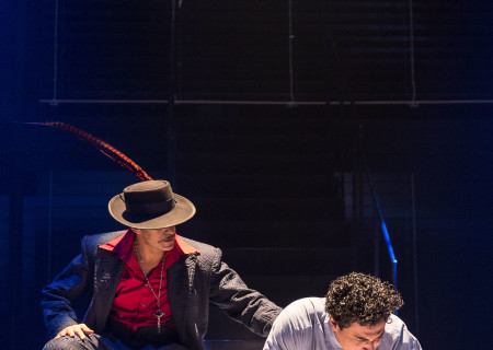 "L-R: Demian Bichir and Matias Ponce in the revival of ""Zoot Suit."" Written and directed by Luis Valdez and presented in association with El Teatro Campesino, ""Zoot Suit"" opens February 12, 2017, (previews began January 31) as part of Center Theatre Group/Mark Taper Forum's 50th anniversary season. For tickets and information, please visit CenterTheatreGroup.org or call (213) 628-2772. Media Contact: CTGMedia@ctgla.org / (213) 972-7376. Photo by Craig Schwartz."