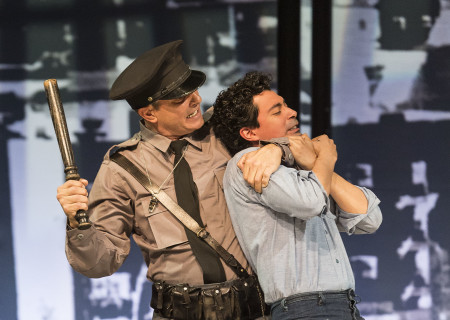 "L-R: Richard Steinmetz and Matias Ponce in the revival of ""Zoot Suit."" Written and directed by Luis Valdez and presented in association with El Teatro Campesino, ""Zoot Suit"" opens February 12, 2017, (previews began January 31) as part of Center Theatre Group/Mark Taper Forum's 50th anniversary season. For tickets and information, please visit CenterTheatreGroup.org or call (213) 628-2772. Media Contact: CTGMedia@ctgla.org / (213) 972-7376. Photo by Craig Schwartz."