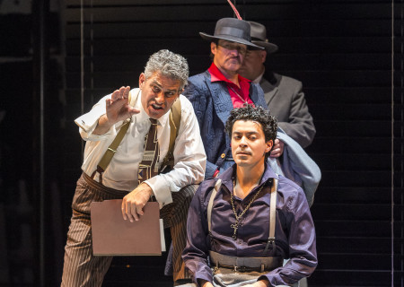 "L-R: Richard Steinmetz, Demian Bichir, Matias Ponce (seated) and Tom G. McMahon (obscured) in the revival of ""Zoot Suit."" Written and directed by Luis Valdez and presented in association with El Teatro Campesino, ""Zoot Suit"" opens February 12, 2017, (previews began January 31) as part of Center Theatre Group/Mark Taper Forum's 50th anniversary season. For tickets and information, please visit CenterTheatreGroup.org or call (213) 628-2772. Media Contact: CTGMedia@ctgla.org / (213) 972-7376. Photo by Craig Schwartz."