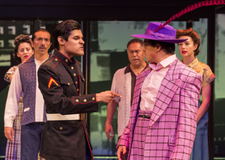 "L-R (foreground): Andres Ortiz and Oscar Camacho (in background Roco Lpez, Raul Cardona, Daniel Valdez and Tiffany Dupont) in the revival of ""Zoot Suit."" Written and directed by Luis Valdez and presented in association with El Teatro Campesino, ""Zoot Suit"" opens February 12, 2017, (previews began January 31) as part of Center Theatre Group/Mark Taper Forum's 50th anniversary season. For tickets and information, please visit CenterTheatreGroup.org or call (213) 628-2772. Media Contact: CTGMedia@ctgla.org / (213) 972-7376. Photo by Craig Schwartz."