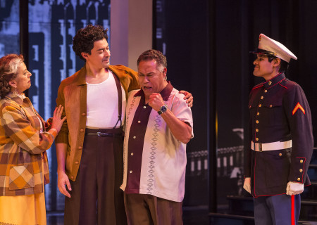 "L-R: Rose Portillo, Matias Ponce, Daniel Valdez and Andres Ortiz in the revival of ""Zoot Suit."" Written and directed by Luis Valdez and presented in association with El Teatro Campesino, ""Zoot Suit"" opens February 12, 2017, (previews began January 31) as part of Center Theatre Group/Mark Taper Forum's 50th anniversary season. For tickets and information, please visit CenterTheatreGroup.org or call (213) 628-2772. Media Contact: CTGMedia@ctgla.org / (213) 972-7376. Photo by Craig Schwartz."