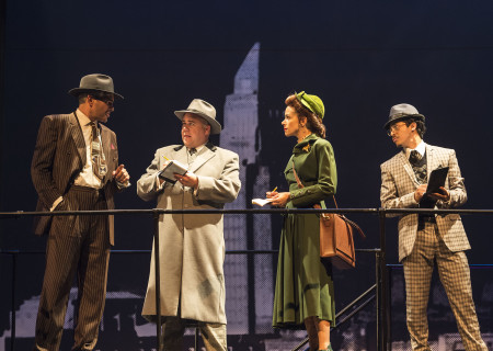 "L-R: Richard Steinmetz, Tom G. McMahon, Tiffany Dupont and Michael Naydoe Pinedo in the revival of ""Zoot Suit."" Written and directed by Luis Valdez and presented in association with El Teatro Campesino, ""Zoot Suit"" opens February 12, 2017, (previews began January 31) as part of Center Theatre Group/Mark Taper Forum's 50th anniversary season. For tickets and information, please visit CenterTheatreGroup.org or call (213) 628-2772. Media Contact: CTGMedia@ctgla.org / (213) 972-7376. Photo by Craig Schwartz."