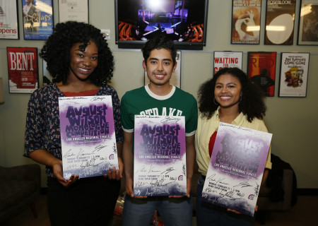 L-R: Winners Aryana Williams, Alexander Villaseñor and Elija Hall backstage at the Mark Taper Forum after the 2017 August Wilson Monologue Competition hosted by Center Theatre Group on February 27. Media Contact: (213) 972-7376 / CTGMedia@ctgla.org. Photo by Ryan Miller/Capture Imaging.