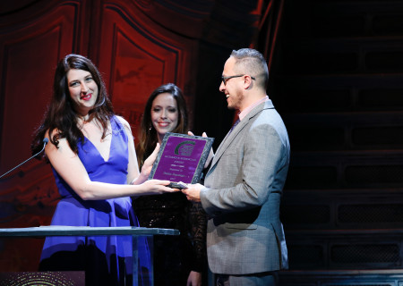 L-R: Miranda Wright and Lindsay Allbaugh present the Richard E. Sherwood Award to Pablo Santiago during the 27th Annual LA Stage Alliance Ovation Awards held at Center Theatre Group/Ahmanson Theatre on January 17, 2017 in Los Angeles, California. <br /> Contact: CTGMedia@ctgla.org / (213) 972-7376.