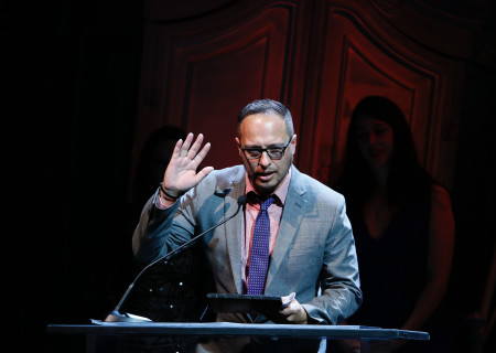 Pablo Santiago accepts the Richard E. Sherwood Award during the 27th Annual LA Stage Alliance Ovation Awards held at Center Theatre Group/Ahmanson Theatre on January 17, 2017 in Los Angeles, California. <br />