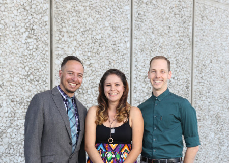 L-R: Pablo Santiago, Jenny Foldenauer and Keith Skretch are the finalists for Center Theatre Group's 2017 Richard E. Sherwood Award, a $10,000 award that provides support for emerging artists living and working in Los Angeles. CTG Publicity / 213.972.7376 / CTGmedia@ctgla.org. Photo by Ryan Miller.